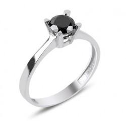 Sidabro žiedas juoda akute