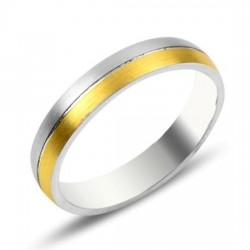 Sidabro žiedas auksuotu kraštu