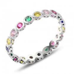 Žiedas su spalvotais...