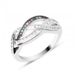 Žiedas su spalvotais ir...