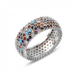 8mm sidabrinis žiedas su 5...